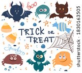 digital set of halloween... | Shutterstock . vector #1830163505