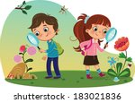 kids in nature | Shutterstock .eps vector #183021836
