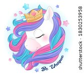 cute doodle unicorn with...   Shutterstock .eps vector #1830253958