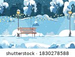 winter park with bench  trees ... | Shutterstock .eps vector #1830278588