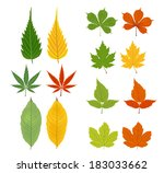 autumn leaves green and yellow | Shutterstock .eps vector #183033662