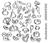 vegetables and fruit icon set ... | Shutterstock .eps vector #1830345542