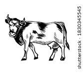 milk cow illustration. farm... | Shutterstock .eps vector #1830345545