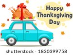 Thanksgiving Day. Car Driving...