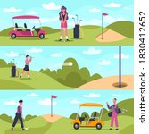 golf banners. male and female... | Shutterstock . vector #1830412652