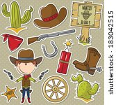 cute cowboy with wild west... | Shutterstock .eps vector #183042515