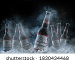 Small photo of Close up of seven bottles of american beer Budweister on black background with ice skating and condensation