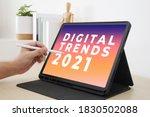 digital trends 2021 on tablet... | Shutterstock . vector #1830502088