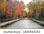 Small wooden bridge on Peshekee river in Van Riper state park in Michigan upper peninsula surrounded with fall foliage
