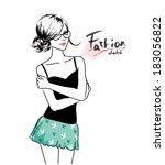 cute young girl | Shutterstock .eps vector #183056822