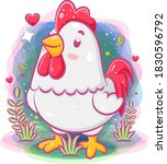 Cute Rooster Play Around The...