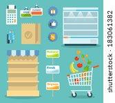 supermarket online website... | Shutterstock .eps vector #183061382