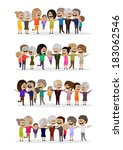 happy peoples   isolated on... | Shutterstock .eps vector #183062546
