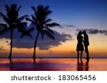 silhouettes of young couple at... | Shutterstock . vector #183065456