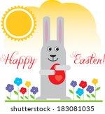 vector easter bunny    Shutterstock .eps vector #183081035