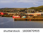 Fishing Harbour And Houses Up...