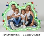 Small photo of Strong immunity - healthy family. Happy parents with children protected from viruses and bacteria, illustration