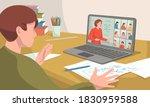 e learning  online education at ... | Shutterstock .eps vector #1830959588