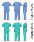 vector mockup of medical scrubs. | Shutterstock .eps vector #1830976922