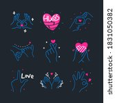doodle heart made with hands... | Shutterstock .eps vector #1831050382