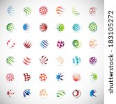 sphere icons set   isolated on... | Shutterstock .eps vector #183105272