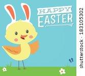 happy easter custom message...   Shutterstock .eps vector #183105302