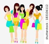beautiful shopping friends ... | Shutterstock .eps vector #183106112