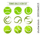 set of nine tennis balls... | Shutterstock .eps vector #1831066015