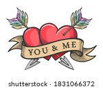 two red heart pierced by two... | Shutterstock .eps vector #1831066372
