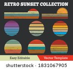Retro Sunset Collection Grunge...
