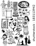 retro hawaii icons | Shutterstock .eps vector #183113942