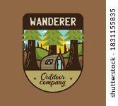 vintage wanderer logo  outdoor... | Shutterstock .eps vector #1831155835