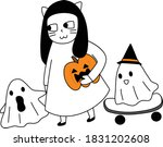 cartoon of group of ghost...