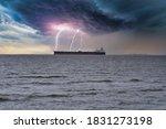 A Container Cargo Ship Drives...