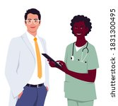 the doctor dressed in a white... | Shutterstock .eps vector #1831300495