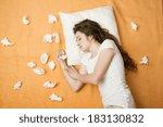 sick woman is sleeping in bed... | Shutterstock . vector #183130832