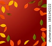 falling autumn leaves. red ... | Shutterstock .eps vector #1831342222