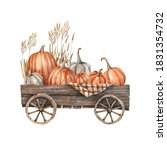 Wooden Cart With Pumpkins And...
