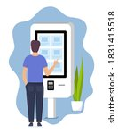 man using self service payment... | Shutterstock .eps vector #1831415518