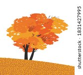 Autumnal Fall Maple Tree Flat...