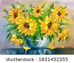 Oil Painting Yellow Flowers....