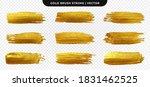 golden paint brush stroke. set... | Shutterstock .eps vector #1831462525