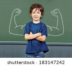 strong child with muscles drawn ... | Shutterstock . vector #183147242