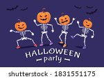 funny skeletons with pumpkins... | Shutterstock .eps vector #1831551175