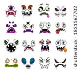 monster face funny emoticons... | Shutterstock .eps vector #1831567702
