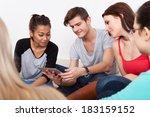 group of university students... | Shutterstock . vector #183159152