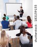 young teacher teaching on... | Shutterstock . vector #183159155