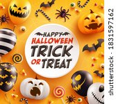 halloween background with cute... | Shutterstock .eps vector #1831597162