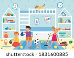 interior of a dirty kids room... | Shutterstock .eps vector #1831600885