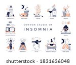 common causes of insomnia ... | Shutterstock .eps vector #1831636048